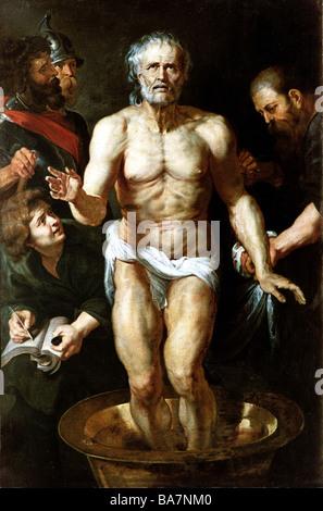 Seneca, Lucius Annaeus the Younger, 4 BC - 65 AD, Roman philosopher, painting 'The Death of Seneca', circa 1615, - Stock Photo