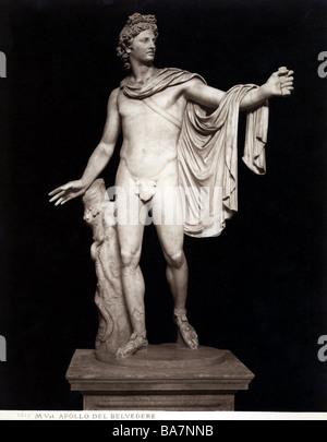 Apollo, Greek deity of light, poetry, music, medicine, statue 'Apollo Belvedere', marble, Roman copy of Greek sculpture - Stock Photo