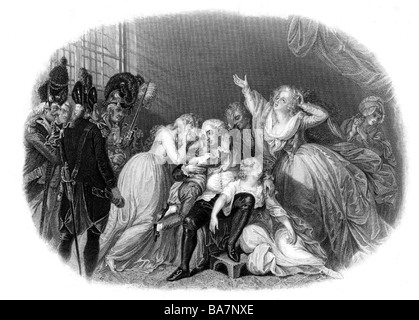 Louis XVI, 23.8.1754 - 21.1.1793, King of France 1774 - 1792, scene, last meeting with his family, 20.1.1793, steel - Stock Photo
