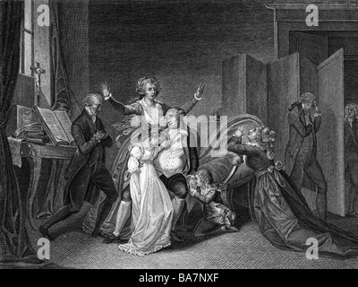 Louis XVI, 23.8.1754 - 21.1.1793, King of France 1774 - 1792, scene, last meeting with his family, 20.1.1793, contemporary - Stock Photo
