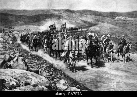 William II, 27.1.1859 - 4.6.1941, German Emperor 15.6.1888 - 9.11.1918, travel to the Orient 1898, riding from Jaffa - Stock Photo