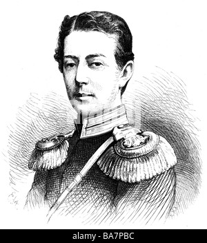 Nicholas Alexandrovich, 20.9.1843 - 24.4.1865, Tsarevich of Russia,  portrait, wood engraving by Ernst Hartmann, - Stock Photo