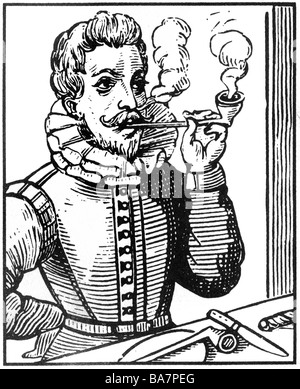 Raleigh, Walter, circa 1554 - 29. 10.1618, English navigator, smoking pipe, woodcut, 17th century, Additional-Rights - Stock Photo