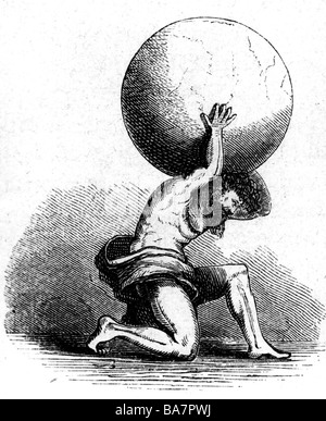 Atlas, Titan, Greek myth figure, carrying earth on his shoulders, wood engraving, 19th century, Additional-Rights - Stock Photo