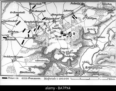 events, War of the Forth Coalition 1806 - 1807, Battle of Jena 14.10.1806, plan, wood engraving, 19th century, Napoleonic - Stock Photo