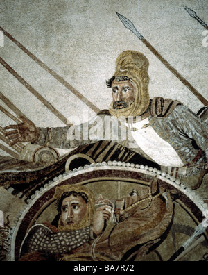 Darius III Codomannus, 380 - 330 BC, King of Persia 336 - 330 BC, at the Battle of Issus 333, Alexander Mosaic from - Stock Photo