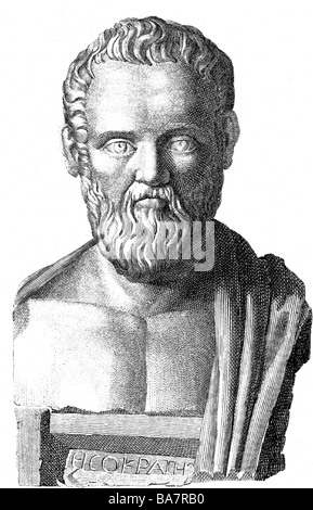 Isocrates, 436 - 338 BC, Greek rhetorician, founder of a school for orators in Athens, portrait, wood engraving, - Stock Photo