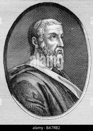 Isocrates, 436 - 338 BC, Greek rhetorician, founder of a school for orators in Athens, portrait, copper engraving, - Stock Photo