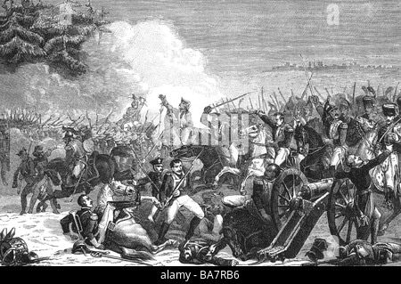 events, War of the Forth Coalition 1806 - 1807, Battle of Eylau 7.- 8.2.1807, French cavallry attacking Russian - Stock Photo