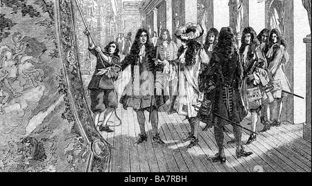 Louis XIV, 5.9.1638 - 1.9.1715, King of France 1643 - 1715, full length, visiting a tapestry manufactory, wood engraving, 19th century,