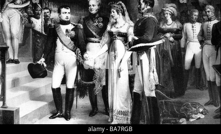 events, War of the Forth Coalition 1806 - 1807, Treaty of Tilsit, meeting of King William III and Queen Louise of - Stock Photo