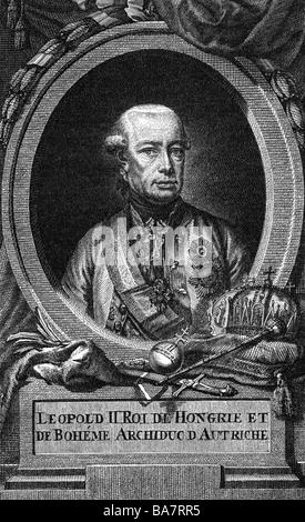 Leopold II, 5.5.1747 - 1.3.1792, Holy Roman Emperor 30.9.1790 - 1.3.1792, portrait, copper engraving by Jakob Adam - Stock Photo