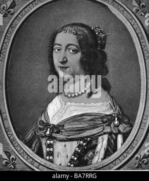 Anne of Austria, 22.9.1601 - 20.1.1666, Queen of France since 1615, wife of Louis XIII, portrait in oval, copper - Stock Photo