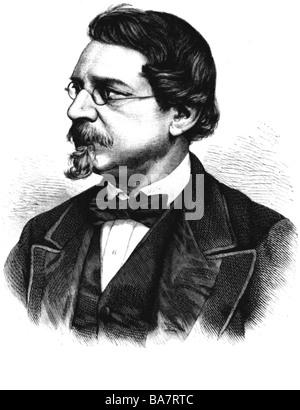 Hofmann, August Wilhelm, 8.4.1818 - 5.5.1892, German scientist (chemist), portrait, wood engraving, 1878, Additional - Stock Photo