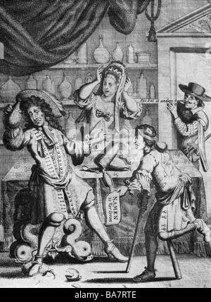 Louis XIV, 5.9.1638 - 1.9.1715, King of France 1643 - 1715, full length, caricature 'Louis le Gram', Dutch sonnet on the loss of Namur, 1695,