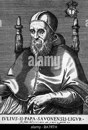 Julius II (Giuliano della Rovere) 5.12.1443 - 21.2.1513, Pope  31.10.1503 - 21.2.1513, half length, copper engraving, 16th century, , Artist's Copyright has not to be cleared
