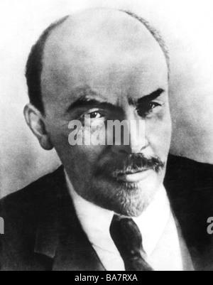 Lenin (Vladimir Ilyich Ulyanov), 22.4.1870 - 21.1.1924, Russian politician, portrait, circa 1918, - Stock Photo