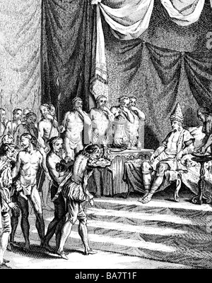 Gama, Vasco da, circa 1469 - 24.12.1524, Portuguese navigator, 1st journey to India 1497 - 1499, before Zamorin - Stock Photo