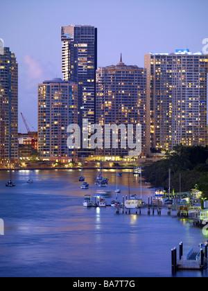 Brisbane city apartments at night - Stock Photo
