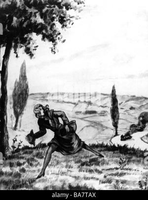 Schragmueller, Elisabeth, 7.8.1892 - 1940, German spy, scene, French drawing, 'Mademoiselle Docteur running away - Stock Photo