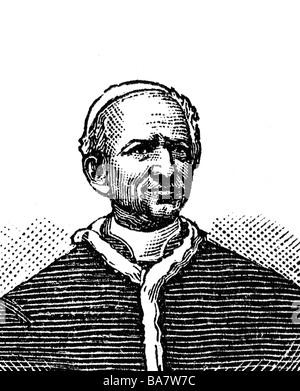 Leo XIII. (Vincenzo Gioacchino Pecci), 2.3.1810 - 20.6.1903, Pope 20.2.1878 - 20.6.1903, portrait, wood engraving, - Stock Photo