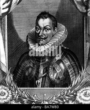 Philip III, 14.4.1578 - 31.3.1621, King of Spain 14.4.1598  - 31.3.1621, portrait, copper engraving, 17th century, - Stock Photo