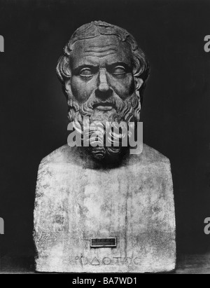 Herodotus, 484 BC - 425 BC, Greek scientist (historian), portrait, Roman copy of bust from 2nd half of 4th century - Stock Photo