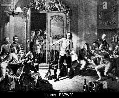 Schiller, Friedrich, 10.11.1759 - 9.5.1805, German author / writer, full length, showing his roleplay 'The Robbers' - Stock Photo