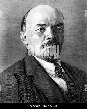 Lenin (Vladimir Ilyich Ulyanov), 22.4.1870 - 21.1.1924, Russian politician, portrait, wood engraving, - Stock Photo