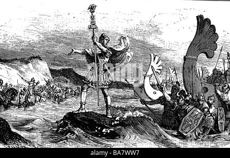 Gallic War 58 - 51 BC, the Romans under proconsul Caius Julius Caesar debarking in Britannia, 55 BC, of the aquilifer - Stock Photo