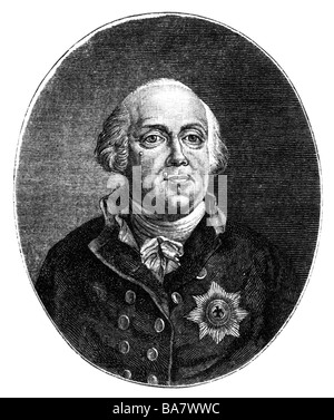 Frederick William II, 25.9. 1744 - 16.11.1797, King of Prussia 7.8.1786 - 16.11.1797, portrait, Additional-Rights - Stock Photo