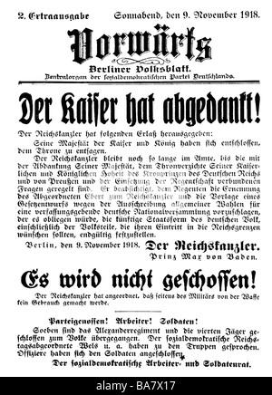 events, First World War / WW I, end of War, abdication of the German Emperor William II, headline: 'Der Kaiser hat - Stock Photo