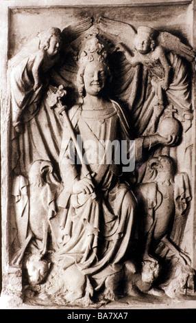Louis IV 'the Bavarian', 1282 - 11.10.1347, Holy Roman Emperor 1328 - 1347, half length, relief, circa 1340, copy, - Stock Photo