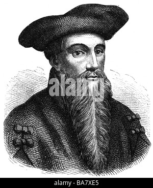 Faust, Johann Georg, 1480 - 1540, German magician, astrologer, mentalist, portrait, wood engraving, Additional-Rights - Stock Photo