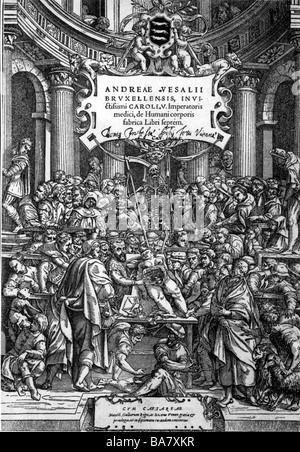 Vesalius, Andreas, 31.12.1514 - 15.10.1564, Dutch physician, works, title page from 'On the fabric of the human - Stock Photo
