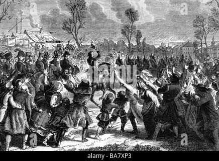 events, War of the Forth Coalition 1806 - 1807, French troops led by Marshal Joachim Murat entering Warsaw, 28.11.1806, - Stock Photo