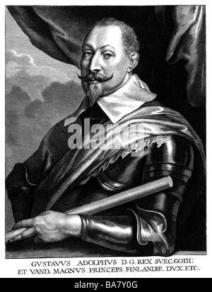 Gustavus Adolphus, 19.12.1594 - 16.11.1632, King of  Sweden 30.10.1611 - 16.11.1632, half length, copper engraving - Stock Photo