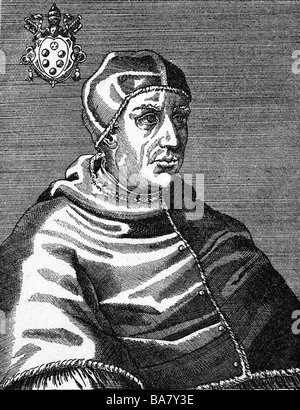 Leo X (Giovanni di Medici), 11.12.1475 - 1.12.1521, pope 11.3.1513 - 1.12.1521, half length, wood engraving, 16th century, Artist's Copyright has not to be cleared