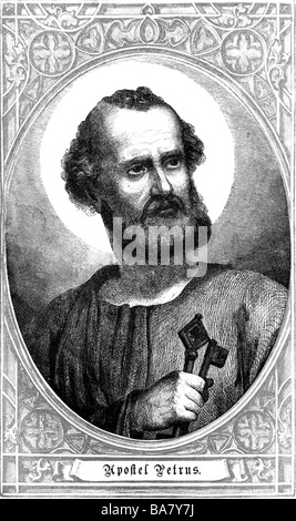Saint Peter, + circa 64 AD, apostle, portrait, copper engraving, 19th century, , Artist's Copyright has not to be - Stock Photo