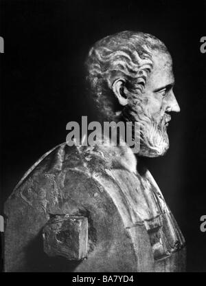 Isocrates, 436 - 338 BC, Greek rhetorician, founder of rhetoric school in Athens, portrait, side face, bust, marble, - Stock Photo