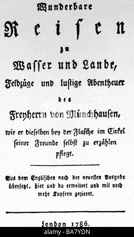 Buerger, Gottfried August, 31.12.1747 - 8.6.1794, German author / writer, works, 'Wunderbare Reisen zu Wasser , - Stock Photo