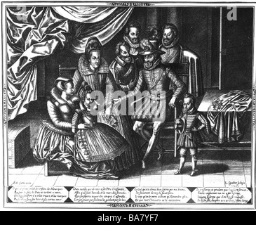 Henri IV, 13.12.1553 - 14.5.1610, King of France 27.2.1594 - 14.5.1610, full length, with his family and court servants, - Stock Photo