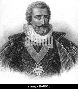 Henri IV, 13.12.1553 - 14.5.1610, King of France 27.2.1594 - 14.5.1610, portrait in robe of Holy Ghost, steel engraving, - Stock Photo