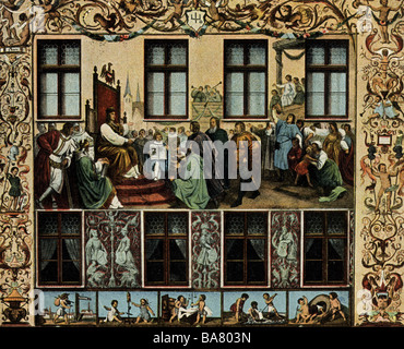 geography / travel, Germany, cities, Augsburg, Fuggerhaeuser (palace of the Fugger family), detail, fresco by Hans - Stock Photo