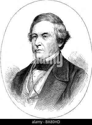 Fillmore, Millard, 7.1.1800 - 8.3.1874, American politician (Whig), 13th US President 1850 - 1853, portrait, wood - Stock Photo