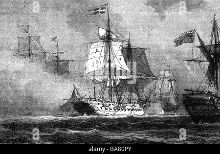 events, War of the Forth Coalition 1806 - 1807, 2nd Naval Battle of Copenhagen, 16.8.1807 - 5.9.1807, Danish frigate - Stock Photo