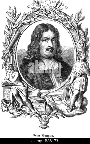 Bunyan, John, 28.11.1628 - 31.8.1688, British clergyman (Puritan) and author / writer, portrait in allegory frame, - Stock Photo