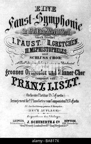 Liszt, Franz, 22.10.1811 - 31.7.1886, Hungarian composer, works, 'Faust Symphony', title page, - Stock Photo