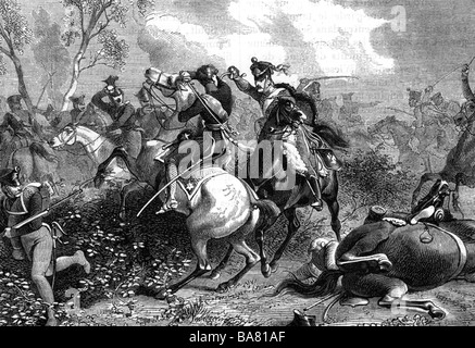 events, War of the Forth Coalition 1806 - 1807, skirmish at Saalfeld, 10.10.1806, death of Prince Louis Ferdinand - Stock Photo