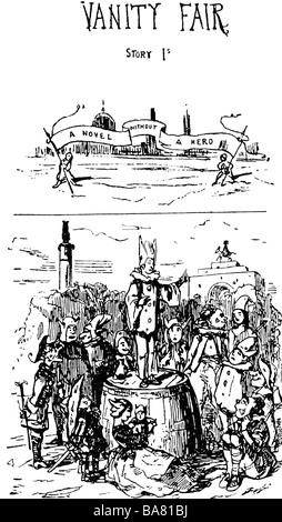 Thackeray, William Makepeace, 18.7.1811 - 24.12.1863, British author / writer, works 'Vanity Fair', story 1, title, - Stock Photo